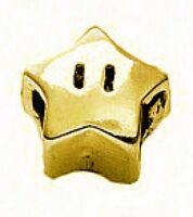 LOOK Super Mario Star power 24kt gold plated real Sterling silver 925 jewelry be
