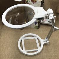 2X Loupe Pliable Agrandiseur avec 2 LED Lampes Lentille Optique de Table ABS