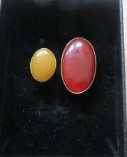 Double stone, open ring/bague/ oval yellow jade/orange Carnelian/ size O1/2 gold