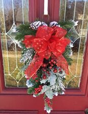 Rustic Winter Red Floral Pine Swag Snowy Christmas Lodge Wreath Berries DECOR