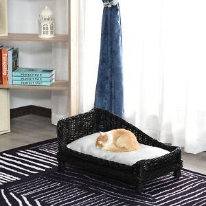 Natural Wicker Cat Dog Pet Lounger Sofa Bed W/ Soft Mat Kitten - Black