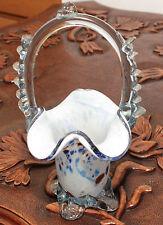 ART GLASS VINTAGE MURANO white / blue / burgundy BASKET CLEAR HANDLE  SKU16182