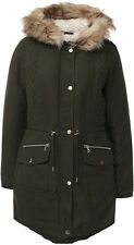 Dorothy Perkins Ladies Size 44 Parka Jacket Coat Fur Hood Green D707
