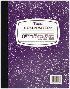 """Mead 09918  Composition Wide Ruled Notebook 9.75""""X7.5""""-100 Sheets (6Pk)"""