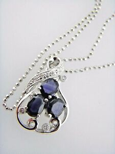 Natural Diamond & Sapphire Pendant Necklace in 14K & 18K Solid White Gold