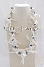 "24"" only 63mm white Reborn Keshi freshwater + 8mm blue round pearl necklace"
