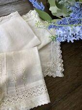 Vintage White Linen Floral Lace Ladies Handkerchiefs Lot of 4