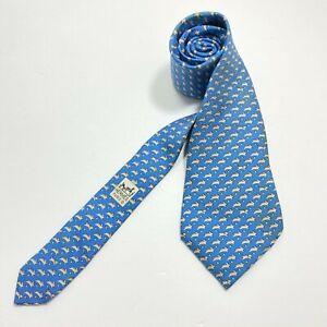 Hermes Paris Tie 5341 TA  Blue Bunny  pattern print Has Stain