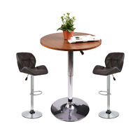 Set of 2 Bar Stool PU Leather Adjustable Swivel Dinning Counter Chair Bar Table