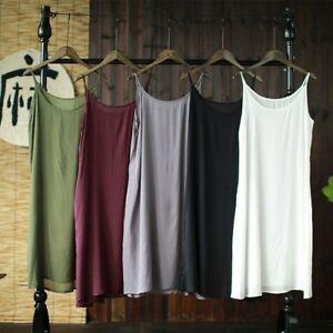 Womens Cotton Full Slip Cami Strappy Under Dress Long Vest Petticoat Underskirt