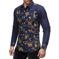 Men's Luxury Casual Dress Shirt Slim Fit T-Shirts Formal Long Sleeve Floral Tops