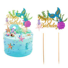 Cupcake Topper Mermaid Shell Cake Picks Decor Baby Birthday Party Favor Supplies