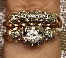 GORGEOUS 14K SOLID YELLOW GOLD WEDDING ENGAGEMENT SET DIAMOND RING