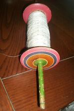 """Vintage Wooden 15"""" Kite Reel / Spool Winder with Line"""