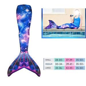 Mädchen Meerjungfrau Mermaid Schwimmbare Bademode Schwanzflosse Monofin Kostüm
