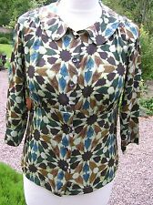 Just in Case green brown blue tile print silk blouse top size 10-12 peter pan