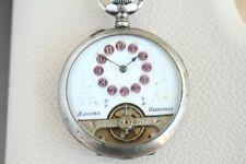 HEBDOMAS 8DAYS Antique 1890 SILVER Enameled Vintage SKELETON Swiss Pocket Watch