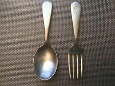 """Antique/Vintage WEBSTER Sterling Silver Baby Fork & Spoon Monogrammed """"D"""""""