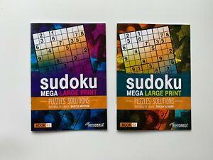 2 x Modern Sudoku A4 Mega Large Print Books Brain Puzzle + Solutions