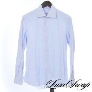 #1 MENSWEAR Liverano & Liverano White Blue Mini Bengal Stripe Dress Shirt 16 NR