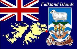 Falkland Islands Mapa Y Bandera - Recuerdo Novedad Nevera Imán - Monumentos /