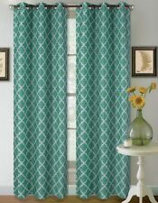 1 SET 2 TONE GEOMETRIC LINED BLACKOUT GROMMET WINDOW CURTAIN DRAPE MODERN DESIGN