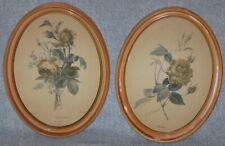 (2) P J Redoute Flower Prints Rockett Rose Signed & Roses et Miosotis #124 Oval