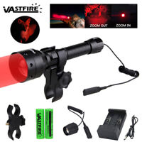 Tactical T50 500 Yard Zoom Predator Red LED Hunting Flashlight Varmint Hog Mount