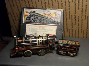 """VINTAGE TOY TRAIN WESTERN ENGINE & COAL CAR; CENTRAL D.58 20th EXPRESS"" Japan"