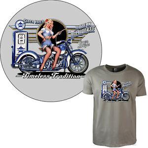 T-Shirt Vintage Classic Harley-Motiv Moto Pinup Fille 4281