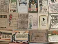 Lot of 24~ Early Arts & Crafts Poems Greetings Collectible 1900's Postcards-a574