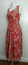 LAURA ASHLEY Vintage Size 12-14 RED Bodice LACE UP Back VICTORIAN ROSE Day DRESS