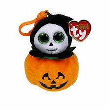 TY Halloween Beanie Baby SPOOKY the Reaper in Pumpkin Key Clip Toy Plush MWMTs