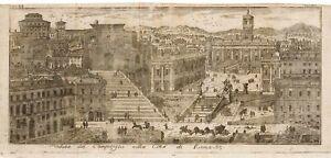 Stampa antica originale Veduta del Campidoglio nella Città di Roma. Lazio Italy