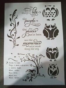A4 Stencil Reusable Template 4 Owls Sentiments Tree Home Decor Cardmaking Craft