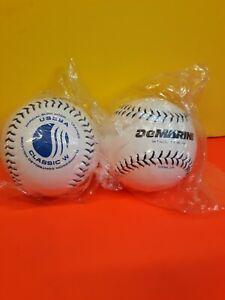 "Pair of DEMARINI ORBIT 11"" USSSA BLUE STITCH Classic W Compressed softball white"