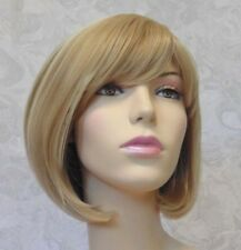 Short Bob With Bangs Blonde Highlighted Heat Resistant Full Synthetic Wig - 3270