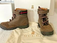 GUCCI Kids Suede and Leather Boots