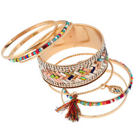 Retro Ethnic Women Rhinestone Crystal Seed Beads Tassel Pendant Bangle Bracelet