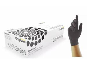 UNIGLOVES Pearl Powder Free Nitrile Gloves-Boxed x100, Black, Medium