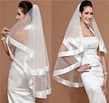 30v Charming  2 Layers Bridal White Wide Satin Edge Wedding Veil