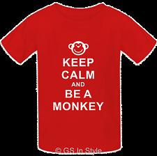 Kids 'KEEP CALM AND BE A MONKEY' Design 100% Cotton T-shirt Boys Girls 2-13 yrs