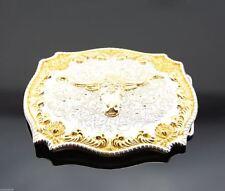 Gold & Silver Plated Longhorn Bull Western Cowboy Rodeo Metal Belt Buckle