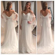 White/Ivory Wedding Dress Bohemian Beach Romantic Bridal Gowns custom Size 4-26+