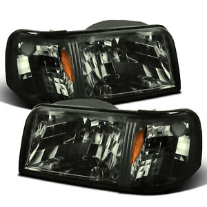 For 1993-1997 Ford Ranger 2in1 Style Smoke Headlights w/ Corner Signal Lamp Pair