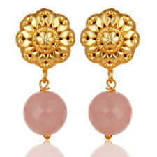 Handmade Chalcedony Brass Earrings 14K Gold Plated Traditional Jewelry