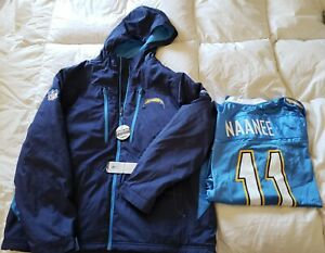 Chargers Men's ON FIELD Midweight Jacket by Reebok Large NEW & Nanee Jersey