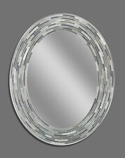 Reeded Charcoal Oval - Decorative Frameless Wall Mirror (1207)