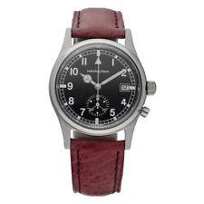 Hamilton 5850 Chrono Steel Black Arabic Dial 33mm Leather Quartz Wrist Watch
