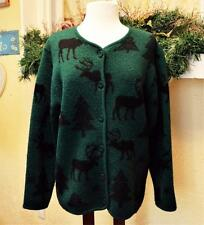 Womens M Boiled Wool Cardigan Sweater Green Black Moose Trees Lisa International
